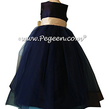 Flower Girl Dresses with layers and layers of tulle in Navy and Buttercreme