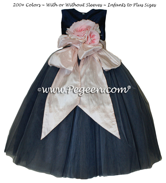 Navy and Shell Pink silk and tulle  flower girl dress