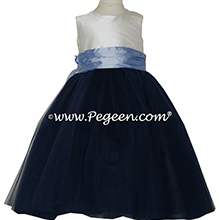 Navy and Wisteria silk and  tulle ballerina style flower girl dresses Style 402 Pegeen