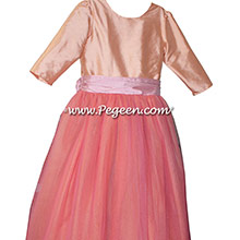 Nectar and Lotus Pink with long sleeve Flower Girl Dresses