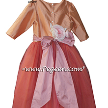 Nectar and Woodrose (coral) ballerina style Flower Girl Dresses with layers and layers of tulle