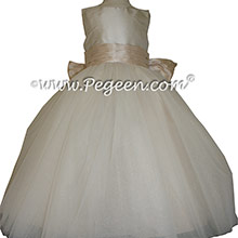 Ivory and Oatmeal Tulle ballerina style Flower Girl Dresses