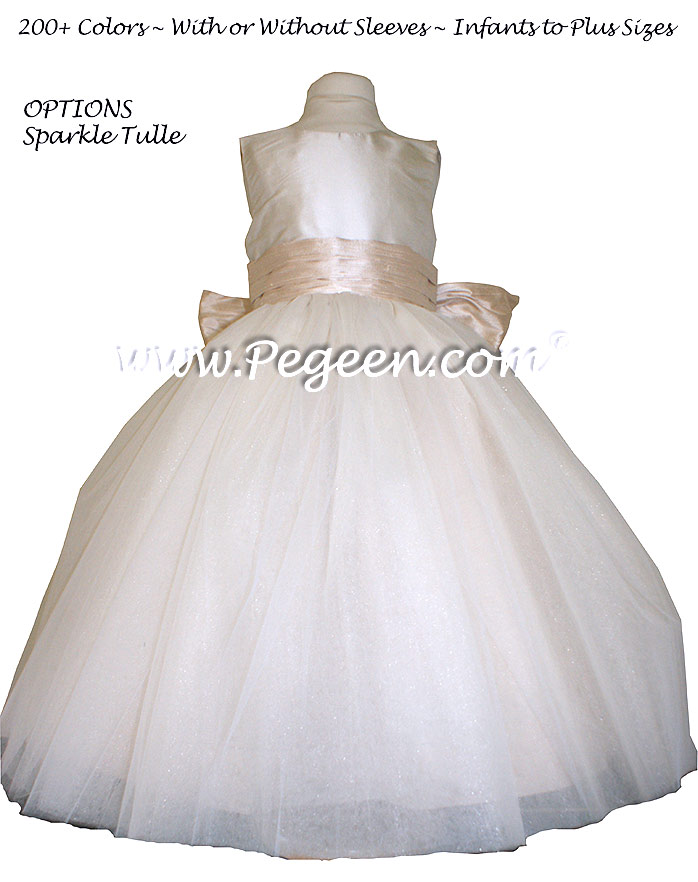 Ivory and Oatmeal and ivory tulle  metallic ballerina style Flower Girl Dresses with layers and layers of tulle