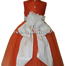 New Ivory and orange ballerina style Flower Girl Dresses with layers and layers of tulle