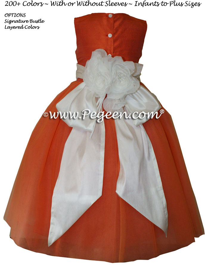 Flower Girl Dresses in Ivory and Orange Ballerina Style with Orange tulle | Pegeen