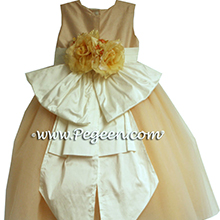 PEACH AND IVORY TULLE CUSTOM FLOWER GIRL DRESSES