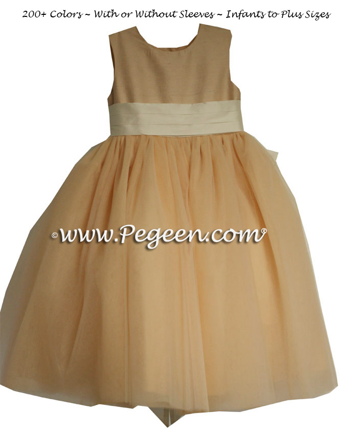 Pegeen's peach and bisque (ivory) Tulle FLOWER GIRL DRESSES with 10 layers of tulle