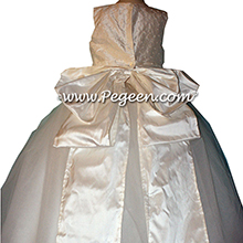 Antique White Silk and Tulle ballerina style Flower Girl Dresses