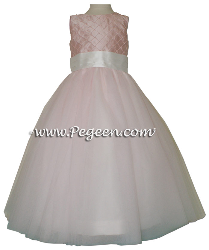 Pegeen's petal pink silk with trellis pintucks and pearls Tulle FLOWER GIRL DRESSES with 10 layers of tulle