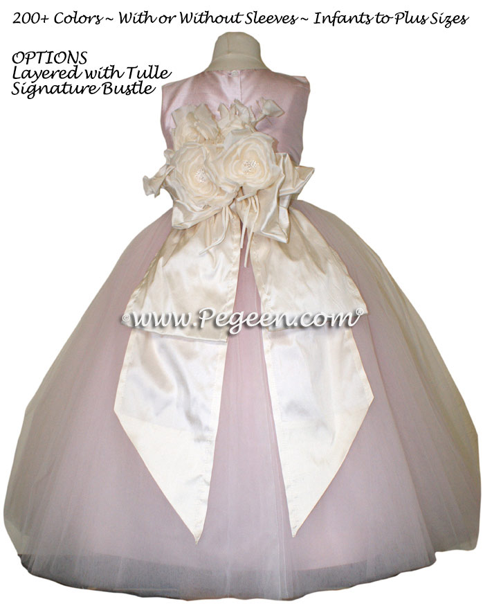 Pegeen's Peony Pink and Bisque (creme) Tulle FLOWER GIRL DRESSES with 10 layers of tulle