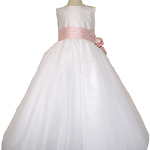 White Dew Drop tulle with Peony Pink Flowers -- customTulle ballerina style Flower Girl Dress