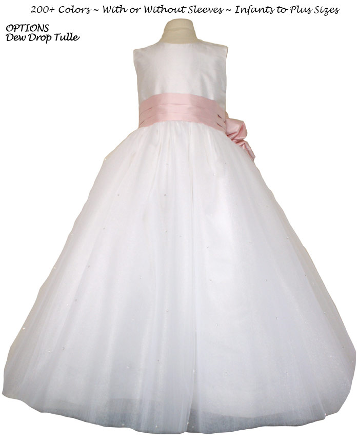 Peony Pink (light creme) and Ivory Tulle  metallic ballerina style FLOWER GIRL DRESSES with layers and layers of tulle