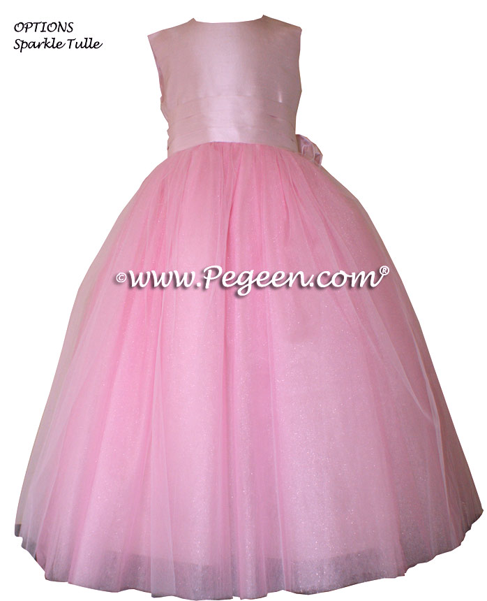 Pegeen's Peony Pink with Crystal Tulle flower girl dresses with 10 layers of tulle