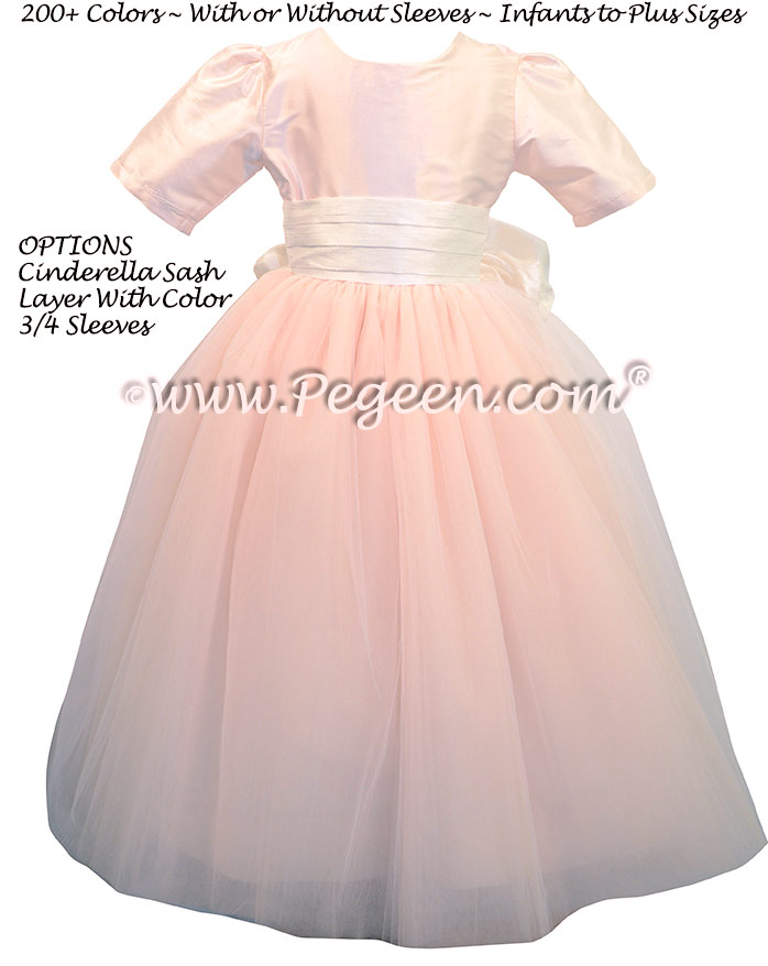 Baby Pink and Antique White ballerina style FLOWER GIRL DRESSES with layers and layers of tulle