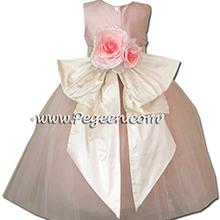 Petal pink tulle with bisque creme sash flower girl dress