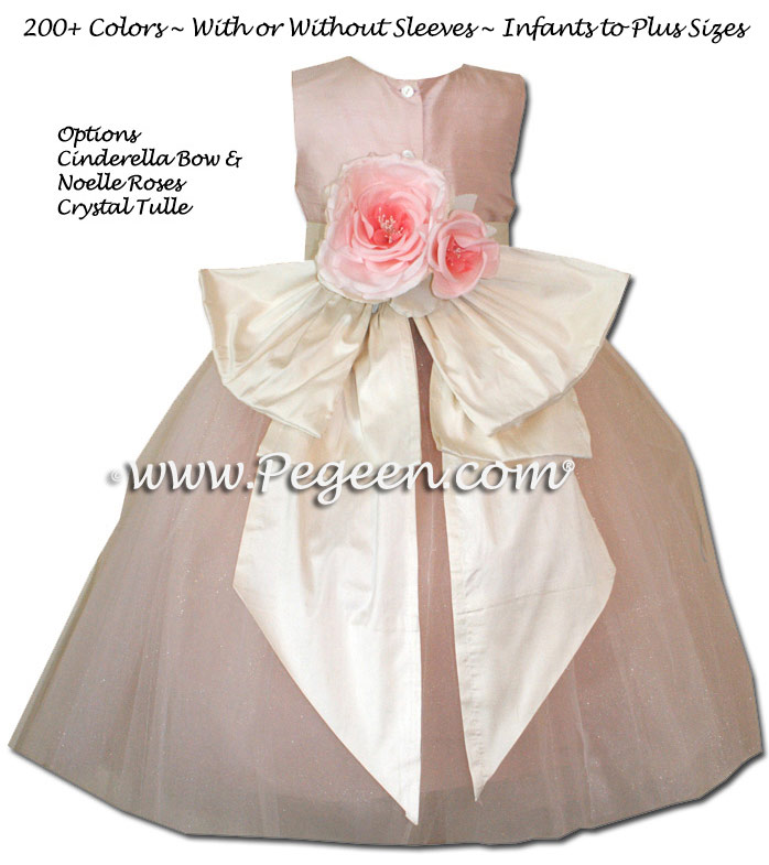 Pegeen's Ballet Pink and Ballet Pink Tulle FLOWER GIRL DRESSES with 10 layers of tulle