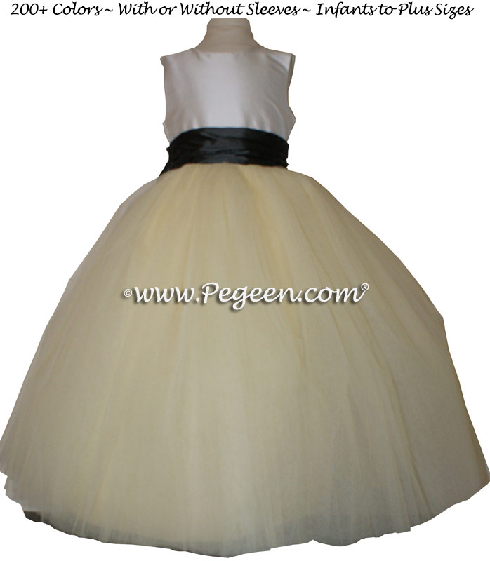 Ivory and Pewter gray and White Tulle  metallic ballerina style FLOWER GIRL DRESSES with layers and layers of tulle