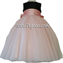 Black and Lotus Pink silk and tulle ballerina style Flower Girl Dresses