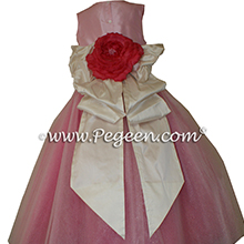 Couture Cerise Pink and Bubblegum ballerina style Flower Girl Dress with layers and layers of tulle