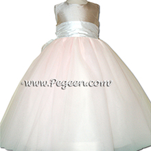 PLATINUM AND pink tulle and silk flower girl dresses