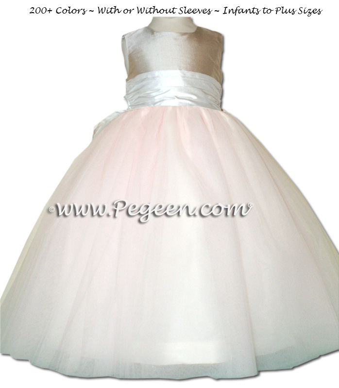 PINK, PLATINUM AND NEW IVORY ballerina style FLOWER GIRL DRESSES with layers and layers of tulle