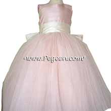 Ballet Pink and Bisque Flower Girl Dresses