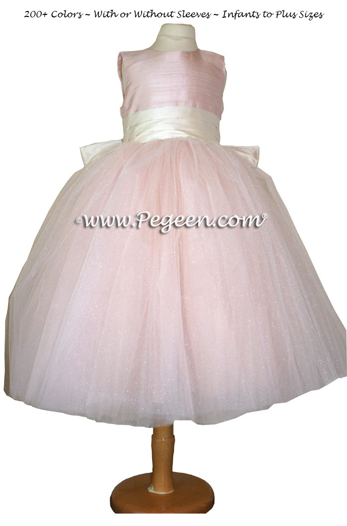 Pegeen's BALLET PINK AND NEW IVORY SILK, Crystal Tulle FLOWER GIRL DRESS with 10 layers of tulle and Heaven Silk Rose