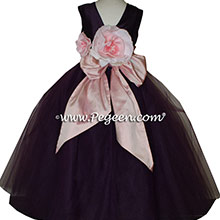Petal Pink and Wildberry Purple Tulle ballerina style Flower Girl Dresses with layers of tulle