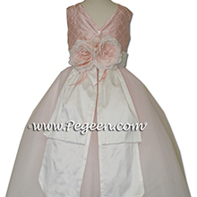 pink pearls and white tulle and silk flower girl dresses