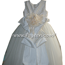 New Ivory and Pinktucks with Pearls ballerina style flower girl dresses