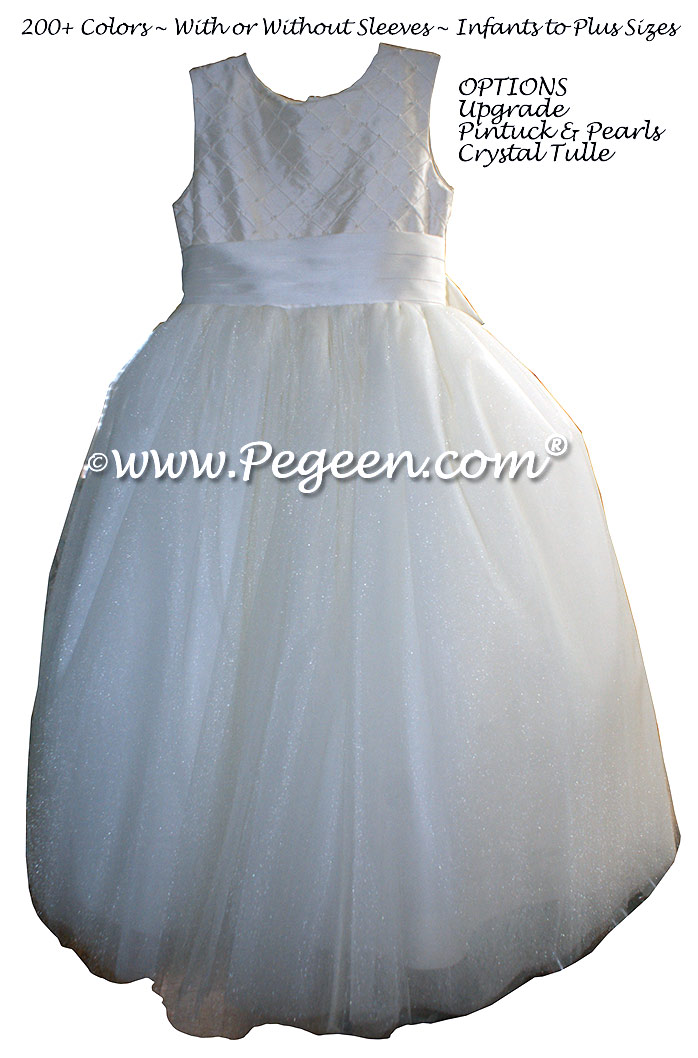 New Ivory and Pinktucks with Pearls ballerina style FLOWER GIRL DRESSES with layers and layers of tulle