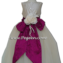 Flamingo pink and creme Flower Girl Dresses