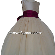 Flamingo pink and creme FLOWER GIRL DRESSES - PEGEEN