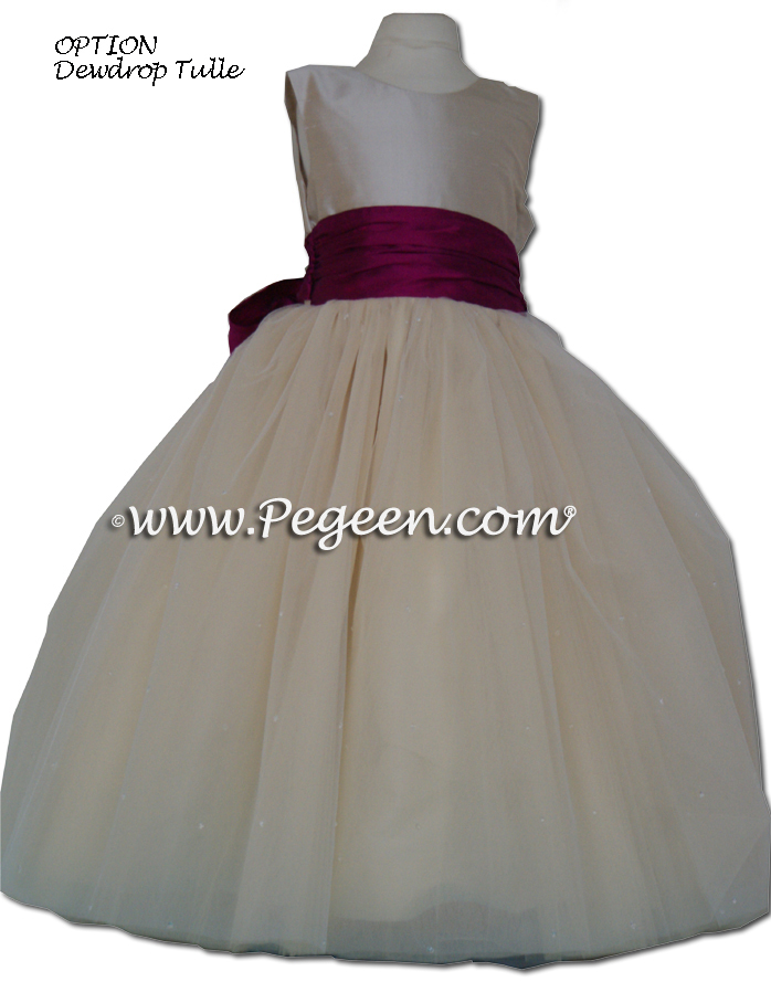 Couture Flower Girl Dress Style 402 in Flamingo pink and creme | Pegeen