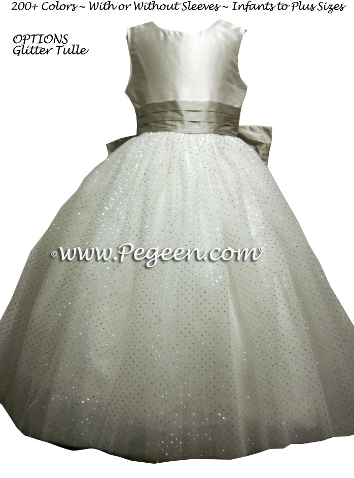 silver metallic ballerina style FLOWER GIRL DRESSES with layers and layers of tulle