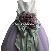 Lavender and pintuck pearls tulle flower girl dresses