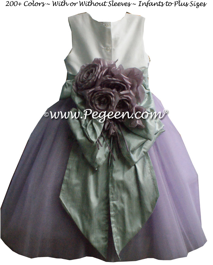 Platinum and lavender silk ballerina style FLOWER GIRL DRESSES with layers and layers of tulle