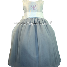 Flower Girl Dresses in Platinum and Antique White with Lavender Monogramming