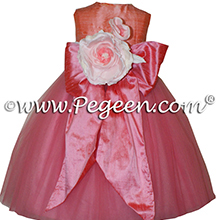 Gumdrop pink and Playtime (coral) silk flower girl dresses 402 Gumdrop