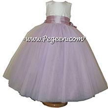 Light plum and Antique White ballerina style Flower Girl Dresses with layers of tulle