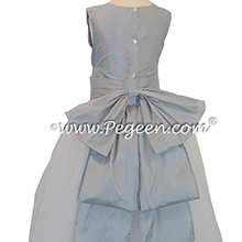 FLOWER GIRL DRESSES with Glitter Tulle and Cinderella Bow in Powder Blue and Antique White