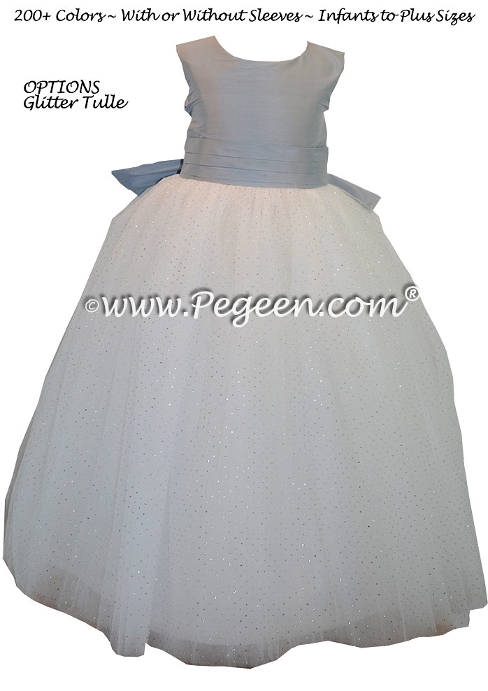 Powder blue and antique white silk silk ballerina style FLOWER GIRL DRESSES with layers and layers of tulle