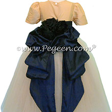 Silk FLOWER GIRL DRESSES Midnight(Navy)Blue and Spun Gold with champagne shades of tulle