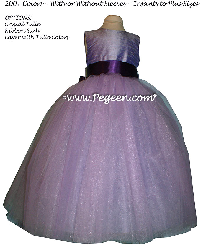 Lilac and dark purple ribbon ballerina style Flower Girl Dresses with Deep Plum Sash