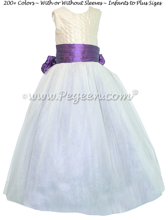 New Ivory and Amethyst ballerina  style Flower Girl Dresses with layers and layers of tulle
