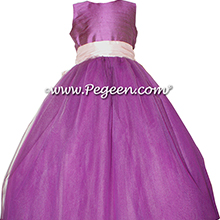 Radiant Orchid and Petal Pink ballerina style Flower Girl Dresses with layers of tulle