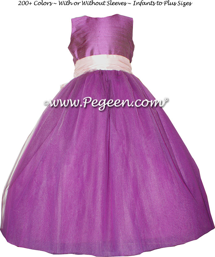 Radiant Orchid and Petal Pink ballerina style Flower Girl Dresses with Deep Plum Sash