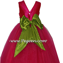 Raspberry and Green tulle ballerina flower girl dress - Degas style
