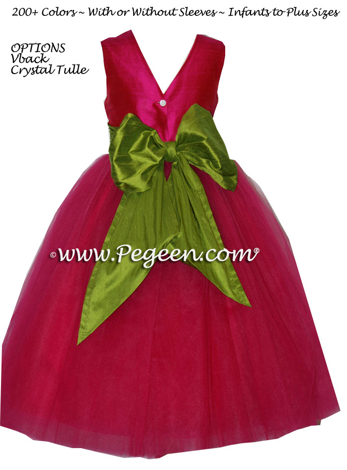 Raspberry and Green tulle ballerina FLOWER GIRL DRESSES - Degas style
