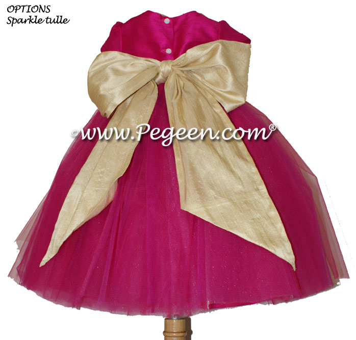 Raspberry and Spun Gold tulle ballerina FLOWER GIRL DRESSES - Degas style